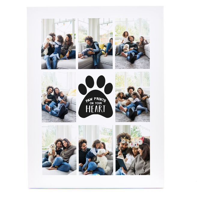 Personalised Canvas - 16x12 (Portrait) - Paw Prints On Your Heart