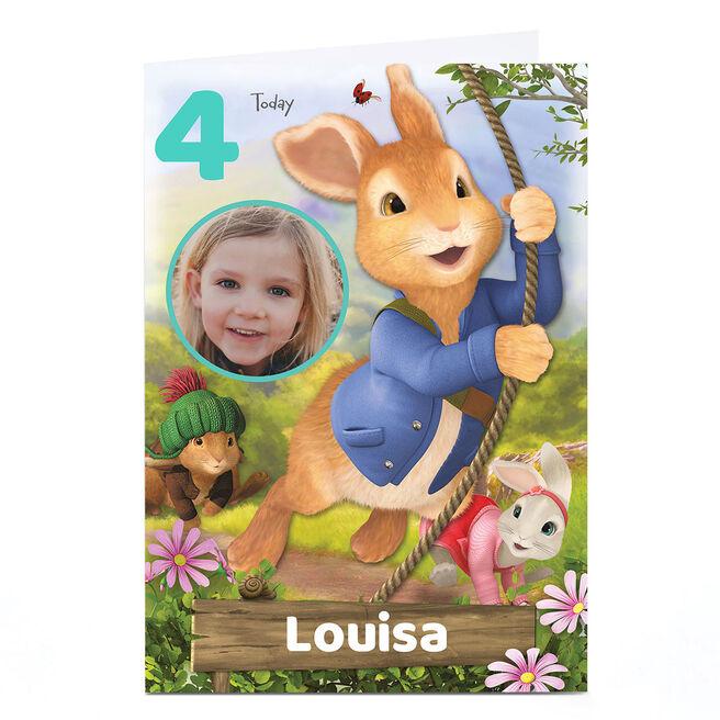 Photo Peter Rabbit Birthday Card - Any Age & Name