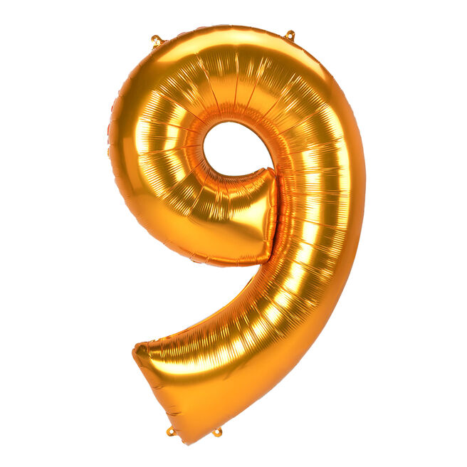 JUMBO 53-Inch Gold Foil Number 9 Balloon (Deflated)