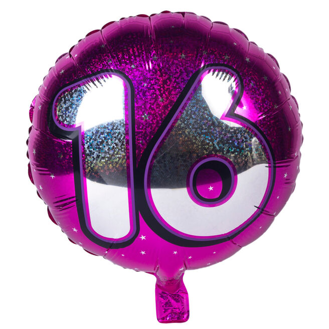 Holographic Pink Age 16 Foil Helium Balloon