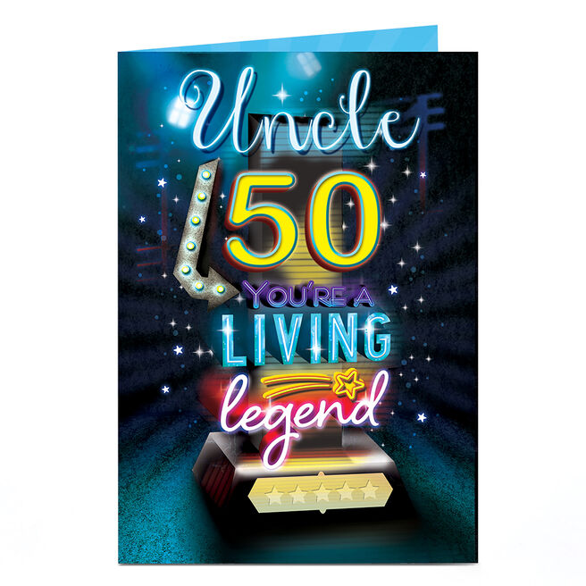 Personalised 50th Birthday Card - Living Legend [Uncle]