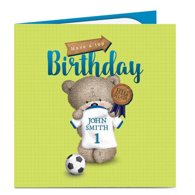 Personalised Hugs Birthday Card - Football Shirt Name