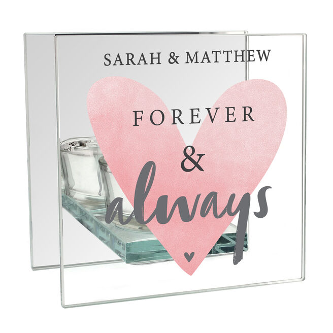 Personalised Glass Square Candle Holder - Forever & Always