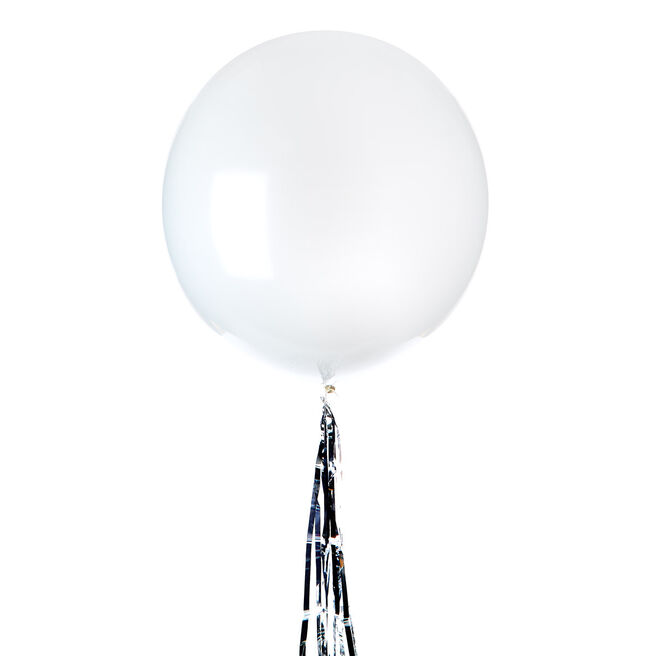 24-Inch Helium-Quality Latex Balloon & Silver Tinsel Tail
