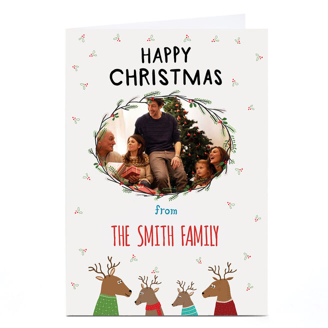 Photo Christmas Card - Happy Christmas Reindeer Family