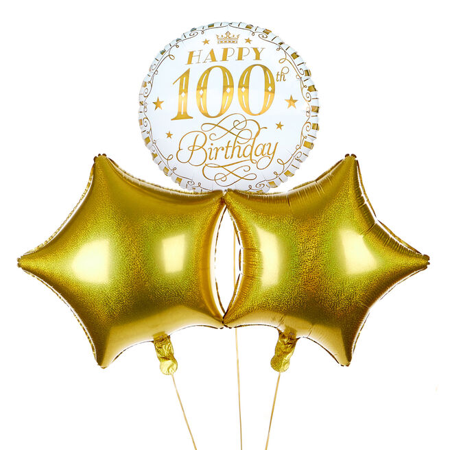 White & Gold 100th Birthday Balloon Bouquet - DELIVERED INFLATED!
