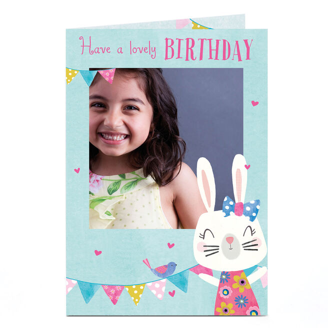 Photo Birthday Card - Cute Bunny