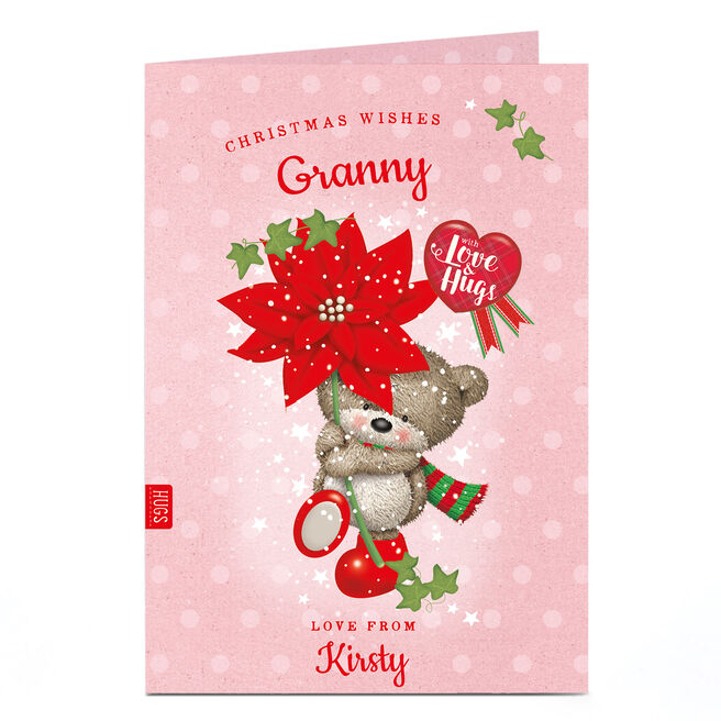 Personalised Christmas Card - Hugs Bear Christmas Wishes