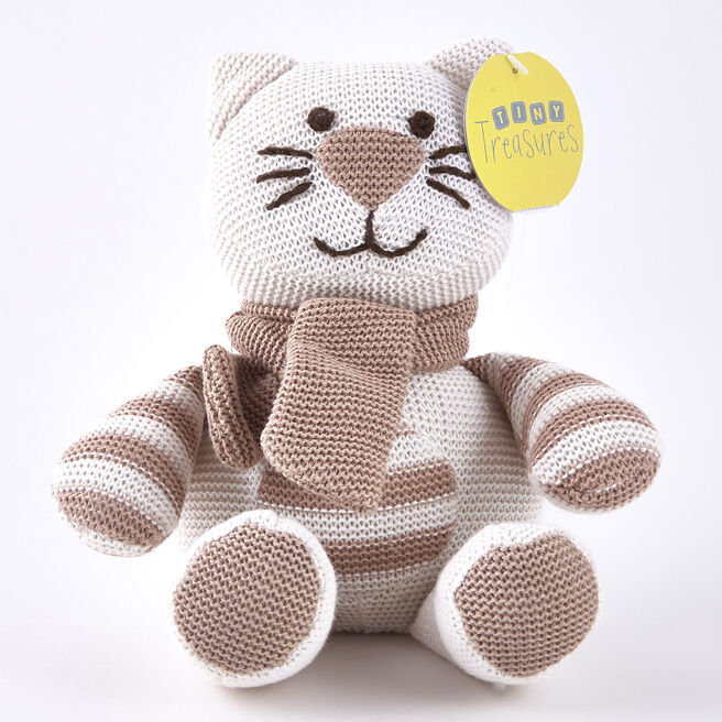 Tiny Treasures Striped Cream & Beige Cat with Scarf