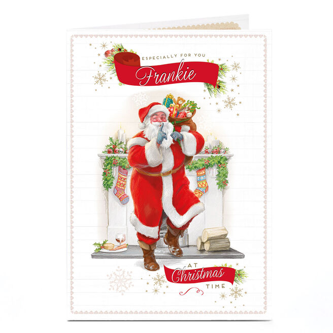 Personalised Christmas Card - Santa At The Fireplace
