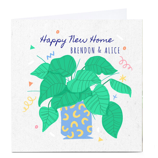 Personalised Little Mono New Home Card - Green Leaves