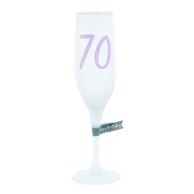 70th Birthday Frosted Champagne Flute
