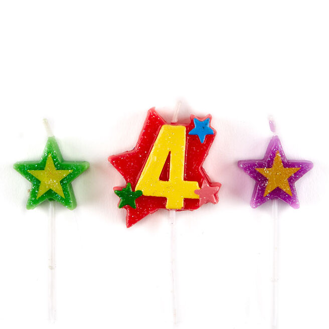 Number 4 Star Birthday Candles - Pack Of 3
