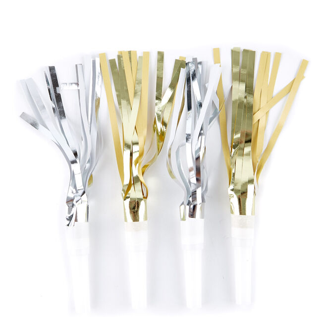 Gold & Silver Foil Party Blowouts - Pack Of 8