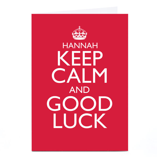 Personalised Good Luck Card - Keep Calm