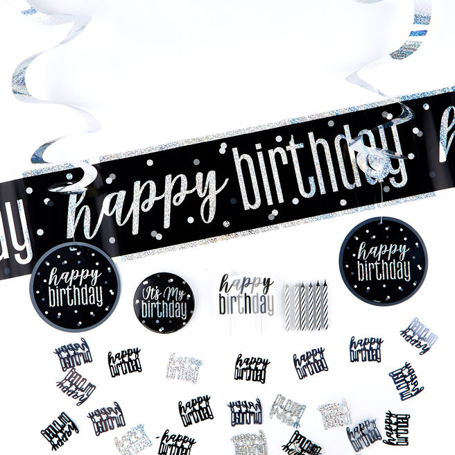 Black Happy Birthday Party Accessory Kit - 23 Pieces
