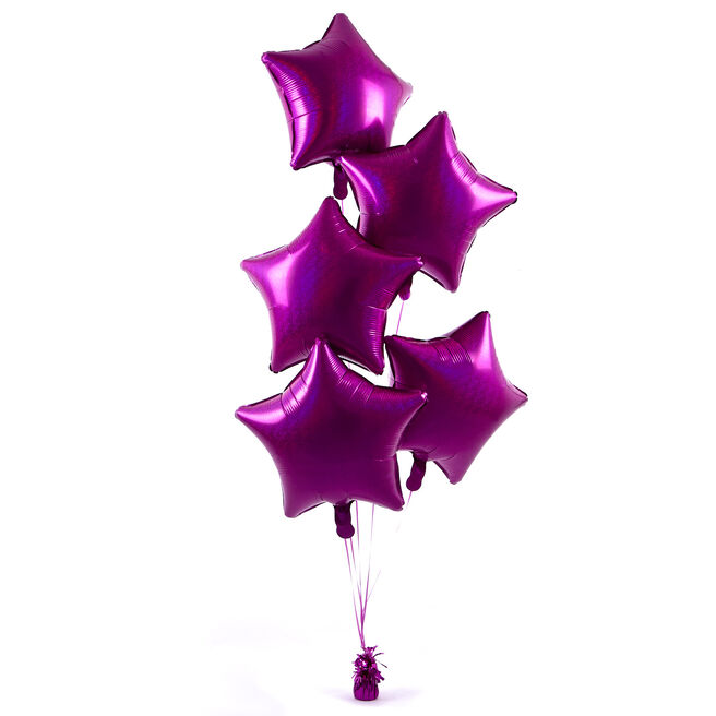 5 Magenta Stars Balloon Bouquet - DELIVERED INFLATED!