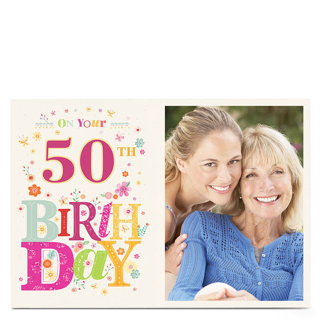 Any Age Photo Birthday Card - Floral Lettering