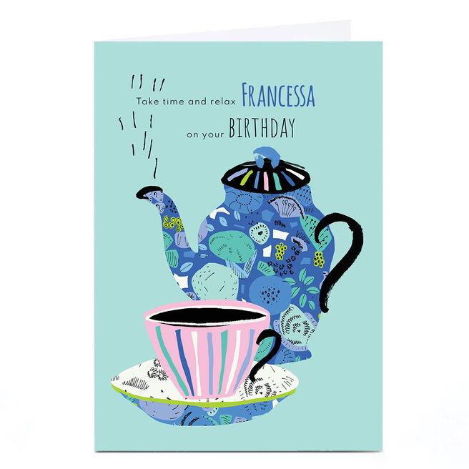 Personalised Rebecca Prinn Birthday Card - Tea Pot