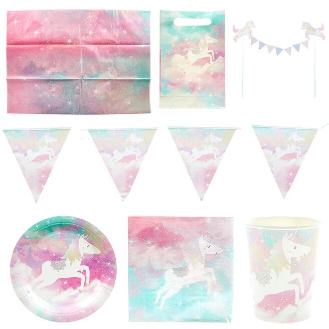 Unicorn Party Tableware & Decorations Bundle - 8 Guests
