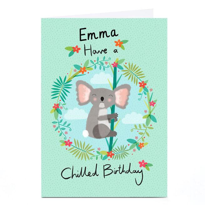Personalised Hannah Steele Birthday Card - Chilled Koala