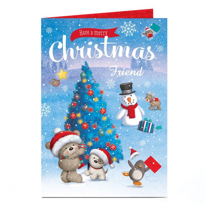 Personalised Hugs Christmas Card - Decorating Tree - Friend