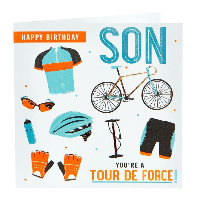 Birthday Card - Son, Cycling