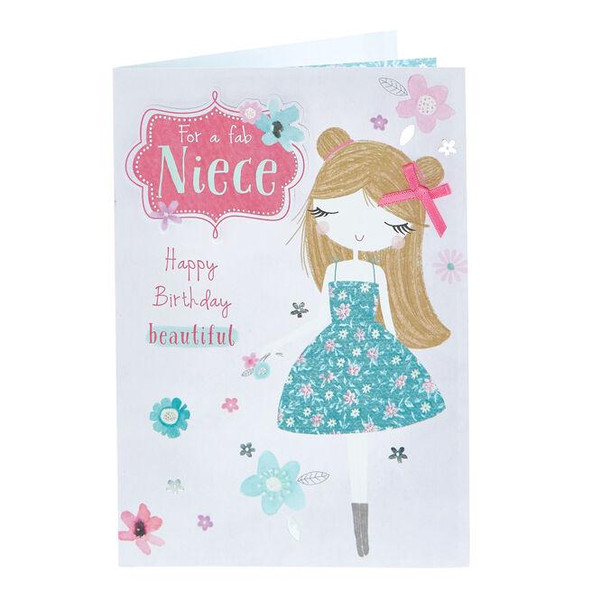 Birthday Card - For A Fab Niece