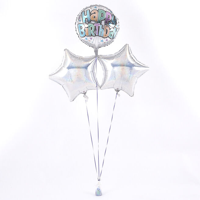 Happy Birthday Bubble Text Silver Balloon Bouquet - DELIVERED INFLATED!