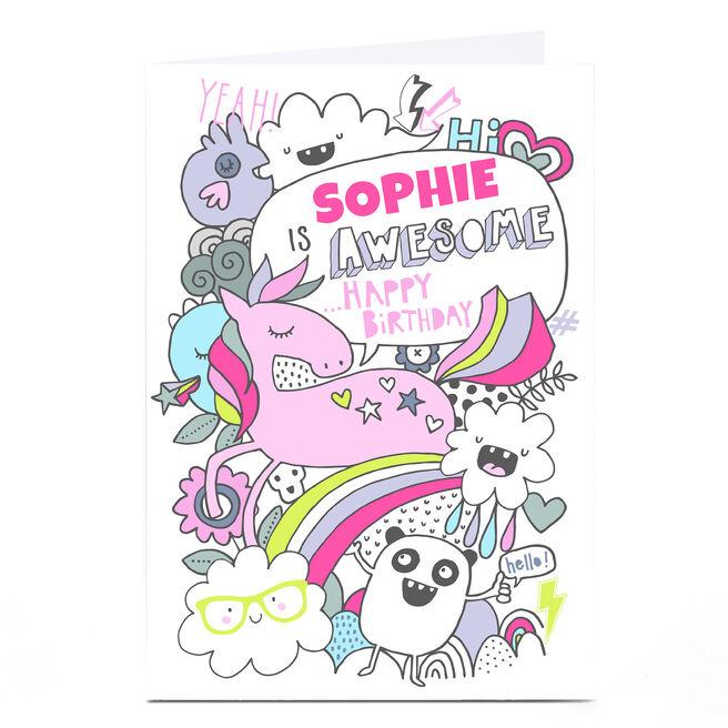 Personalised Bev Hopwood Birthday Card - Unicorn & Pandas