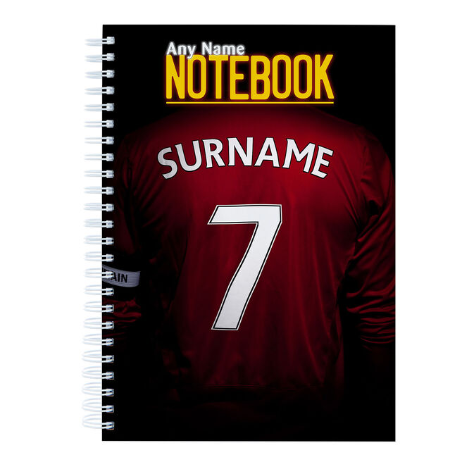 Personalised Red Football Shirt Notebook