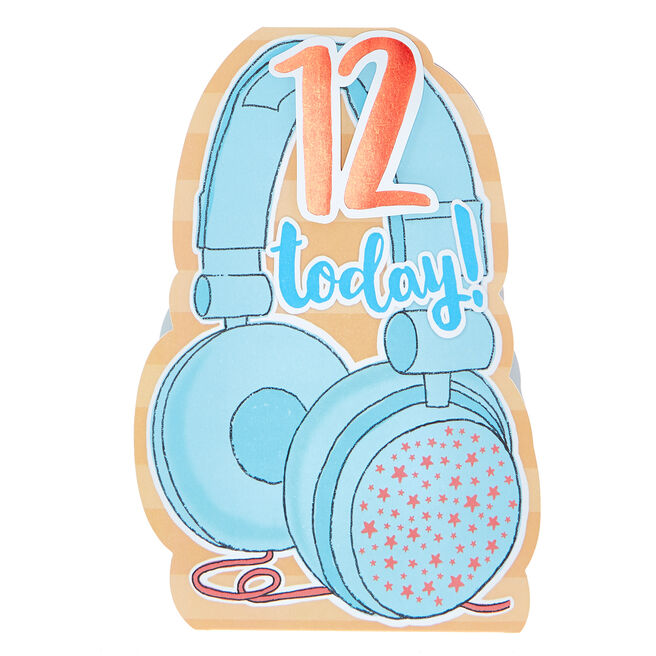 12th Birthday Card - Headphones