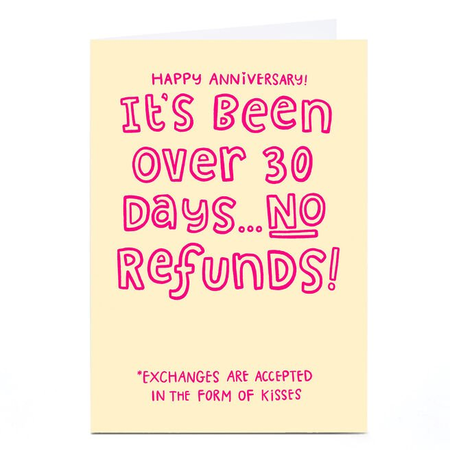 Personalised Blue Kiwi Anniversary Card - No Refunds