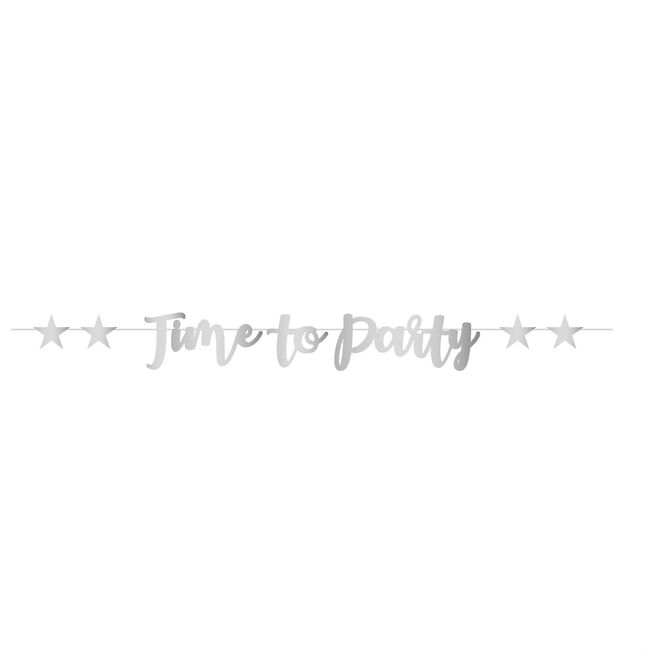Silver Time To Party Script Letter Banner