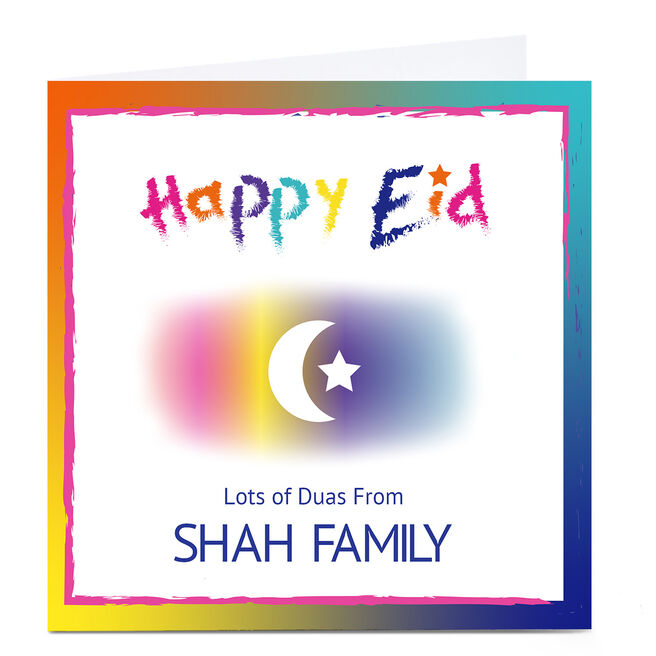 Personalised Roshah Designs Eid Card - Colourful Text, Square
