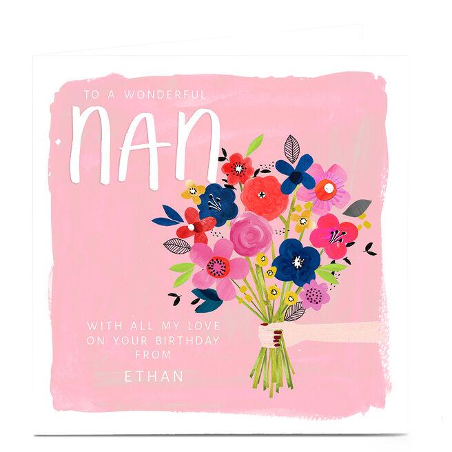 Personalised Kerry Spurling Birthday Card - Flowers Nan