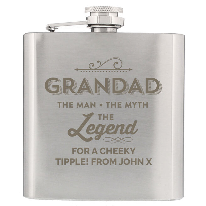 Personalised Hip Flask - Grandad The Legend