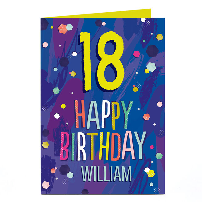 Personalised Any Age Birthday Card - Happy Birthday Blue