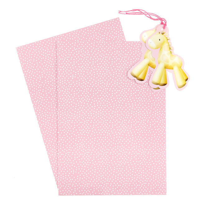 Pink & White Spotty Horse Gift Wrap & Tag Set