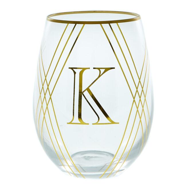 Letter K Glass Tumbler