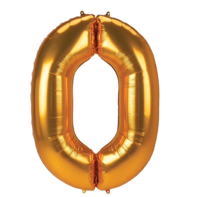 JUMBO 53-Inch Gold Foil Number 0 Balloon (Deflated)