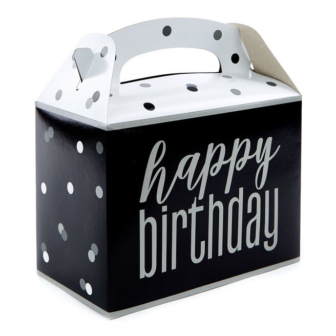 Black Happy Birthday Party Boxes - Pack Of 6