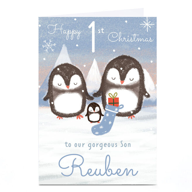 Personalised Juniper and Rose 1st Christmas Card - Son