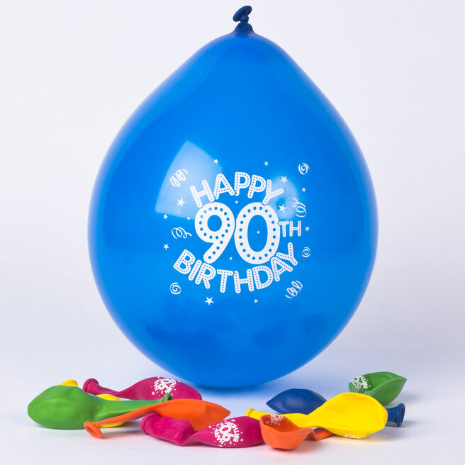 Multicoloured Age 90 Small Latex Balloons, Pack Of 10
