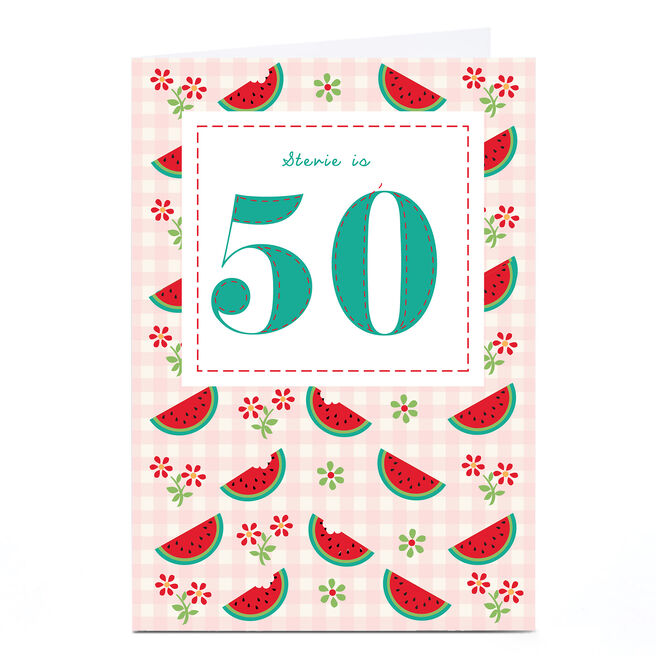Personalised 50th Birthday Card - Melons & Gingham