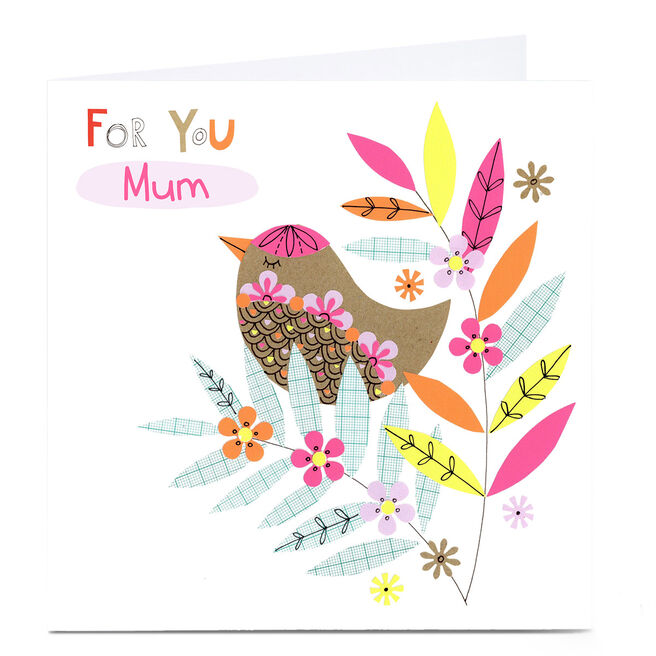 Personalised Lindsay Loves To Draw Card - For You, Bird