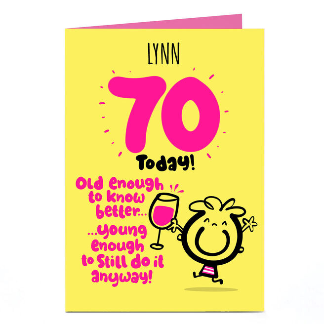 Personalised Fruitloops 70th Birthday Card - Old Enough Yellow