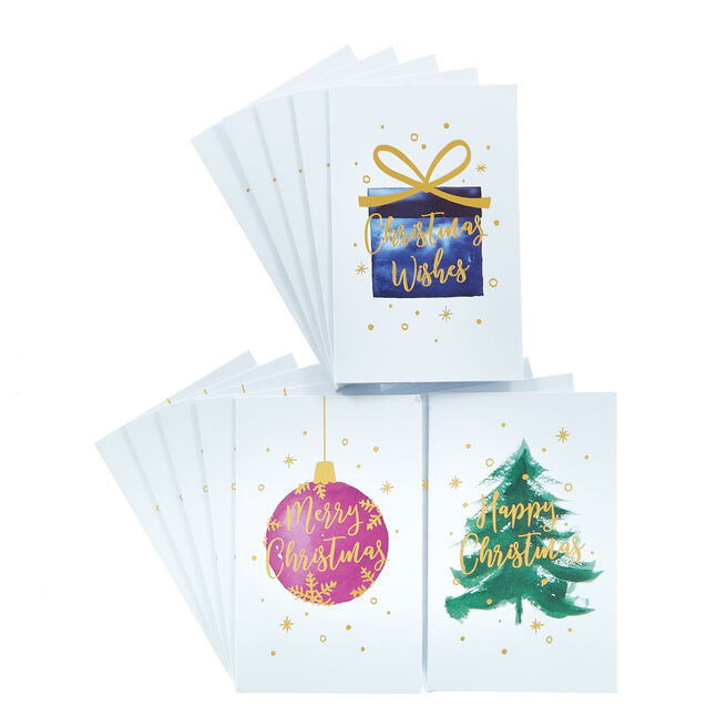 18 Watercolour Charity Christmas Cards - 3 Designs