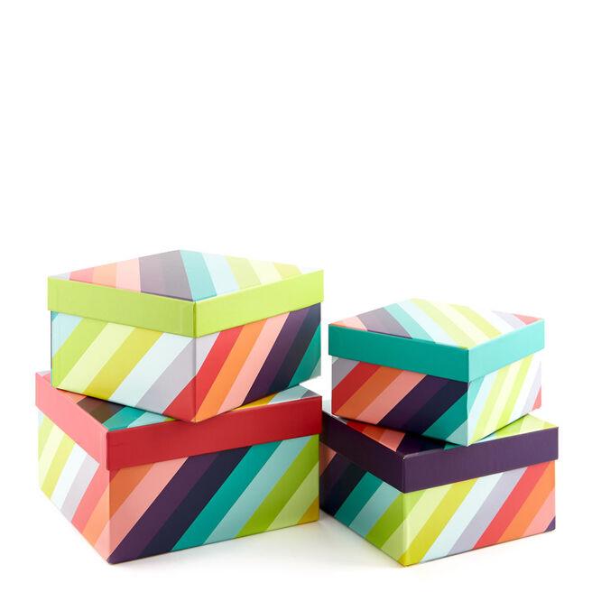 Luxury Gift Box Set Of Four - Rainbow Stripes