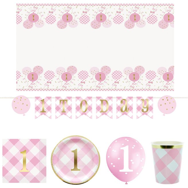 Pink Gingham 1st Birthday Party Tableware & Decorations Bundle - 55 Pieces